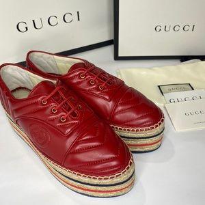 Gucci Women's Nappa Red Espadrilles GG SIZE 38.5